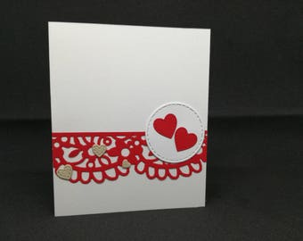 Hearts-Greeting Card (size 12 x 10 cm)-love-red-hearts-Love
