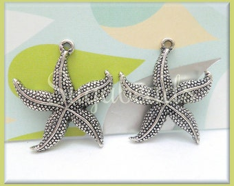 6 Antiqued Silver Starfish Pendants, 25mm, Silver Starfish, PS77