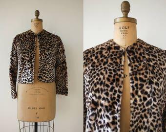 vintage 1960s jacket / 60s faux fur jacket / 60s leopard print jacket / 60s boxy jacket / 60s animal print winter jacket / large XL