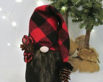 Red & Black Cabin ~ Woodland Nordic Gnome, Tomte, Nisse, Gnome, Scandinavian Gnome, Trapper