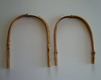 Pair of handles or open patent real natural bamboo purse handles
