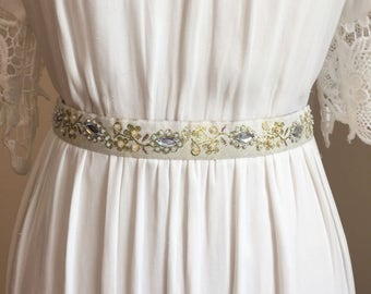 White & Gold Beaded Bridal Sash