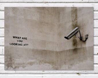 SALE: Men's Gift, What Are You Looking At, Banksy Graffiti, London. 8x10'' Print, Fine Art Photograph, office decor, dorm decor