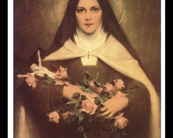 "Large St. Therese of Lisieux Holy Card 3.5"" wide x 5.5"" tall Print Picture by Bosseron Chambers"