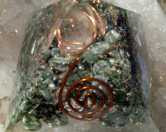 Orgone Pyramid Russian Seraphinite  Stone With Crystal-Pyraite and Copper 50mm.