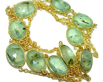 Moss Prehnite Sterling Silver Necklace - weight 23.60g - dim 1 2 inch - code 26-mar-18-46