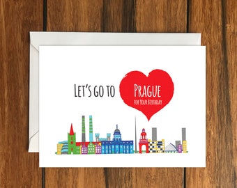 Let's Go To Prague for your Birthday Blank greeting card, Holiday Card, Gift Idea A6