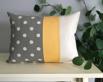 Decorative Pillow Cover, Color Block Pillow, Pillow with Yellow Stripe and Polka Dot Pattern