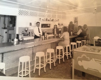 Vintage Photograph 1940's Diner and Patrons Houston Texas