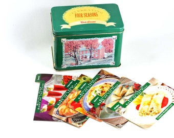 Vintage Bob Evans Recipe Box Tin With 5 Divider Cards