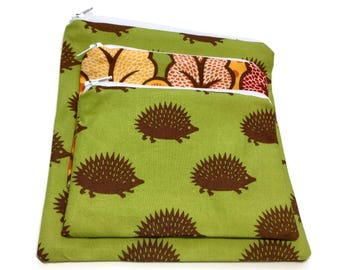 Zipper Sandwich Snack Bags Set Of 2/3 Hedgehogs Abstract Trees Green BrownRed Orange
