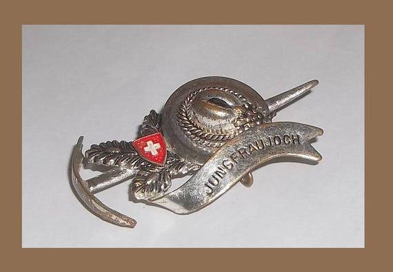 Vintage JUNGFRAUJOCH Mountaineering Hiking Hat Pin