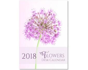 2018 Desk Calendar 2018, Flower Calendar, Photography Floral Calendar, Flower Photo Desktop Calendar, 4 x 6 Inch, Printed Calendar