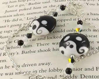 Beth Lampwork Glass Swarovski Crystal and Chain Bookmark aka Book Thong a perfect addition to your library