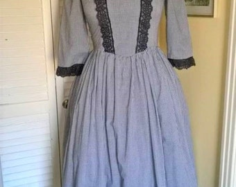 Handmade Gingham and Lace Dress sz 6