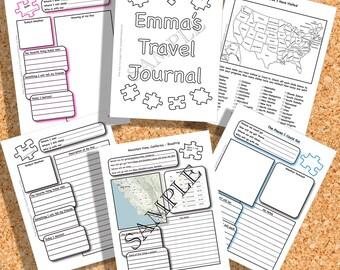 Customized Printable Kid's Travel Journal