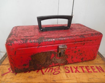 Old Rusty Red Tackle Box ...Tool Chest