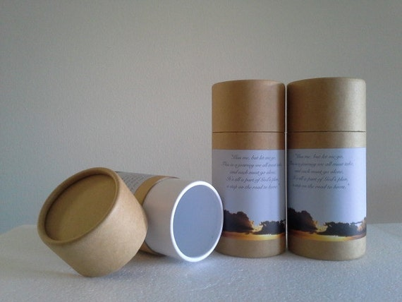 """SET OF THREE Eco-Friendly Cremation Urn Scattering Tubes w/Telescopic Lids - Natural/Biodegradable - Style """"Heavenly"""""""