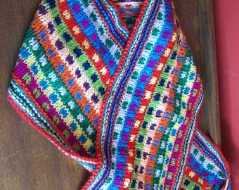 children's bright scarf, knitted scarf, stripey child's scarf, machine washable scarf, boho scarf, fringed scarf, bright colours, girl, boy