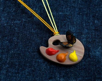 artist palette charm wooden palette gift for painter butterfly lover painter necklace light wooden palette sign with paints and butterflies