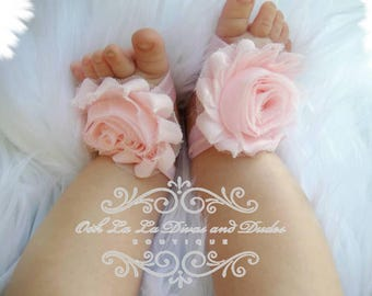 Pink Baby Barefoot Sandal/Newborn Sandal/Baby Shoes/Photo Prop/Baptism Barefood Sandal/Baby Shower Gift/Wedding/Flower Girl/Crib Shoes