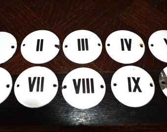 Antique Enamel Sign Roman Numeral Plaque Choose your favorite Number from 1 thru 10