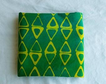 Kayak main teinté et tissu de coton à motifs / Chartreuse et vert gazon