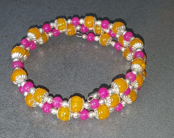 tangy glass pearl bracelet fuchsia and melon