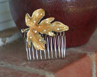 H11 Vintage Upcycled Gold Leaf Diamond Rhinestone Hair Comb