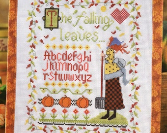 Cross Stitch Chart - THE FALLING LEAVES Sampler - Autumn -Pattern Needlework X-Stitch