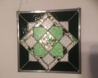 Patchwork panel in green