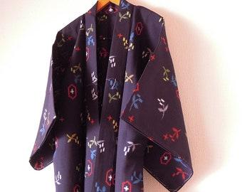 Vintage Japanese Kimono / Wool Kimono / Dark Blue Color