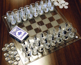 Checkmate! Personalized Shot Glass Chess |Perfect for Holiday or Birthday Parties, Gifts for Newlyweds and Young Couples, Fun Drinking Games