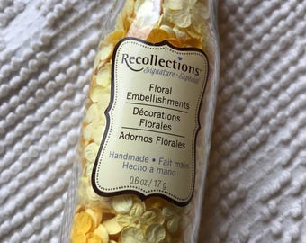 Floral embellishments - handmade - almost full jar 17g - small yellow flowers - craft supplies - decorative supplies