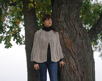Oatmeat hand knit winter cape wool knit womens poncho knitted poncho gift for her winter poncho