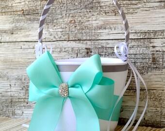Wedding Flower Girl Basket - Aqua and Silver/Grey/CHOOSE your COLOR and DESIGN - Satin Ribbon, Wedding Basket