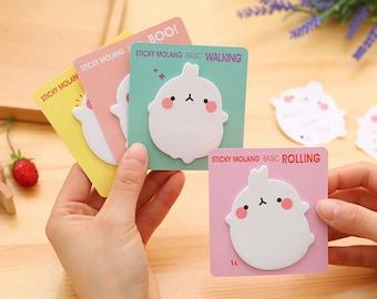 Fat Rabbit, bunny,  Molang Sticky Notes, Cute Kawaii, set of 4, Kawaii Stationery, Post it, Kawaii Notepad, memo pad, note pad, Planners