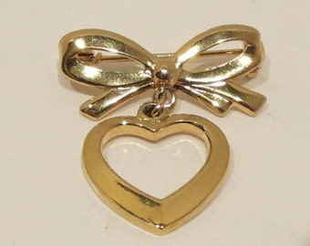 Bow and Heart Pin / Brooch