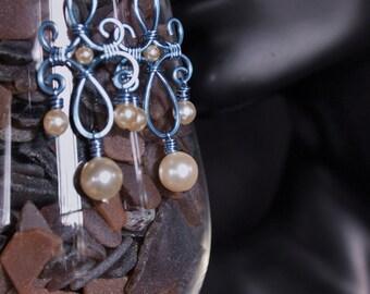 Baby blue chandelier earrings