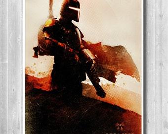 Star Wars Boba Fett poster,Boba fett print, Bounty hunter Star Wars Art, Star Wars print, Movie poster, Sci-Fi, Darth Vader, Boba Fett