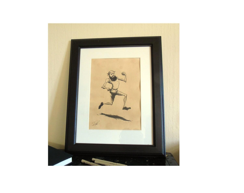 Hipster Runner / Original Sports Wall Art / Vintage Style