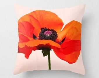 Poppy Pillow, Red Throw Pillow, Orange Accent Pillow, Nursery Pillow, Floral Home Decor, Tribute to Georgia O'Keeffe Art, Poppies Pillow