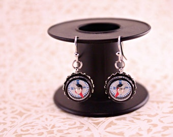 Working Mini Compass Earrings