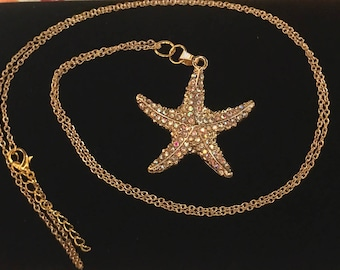 Long Gold Starfish with Rhinestone Necklace, Long Necklace, Gold Necklace
