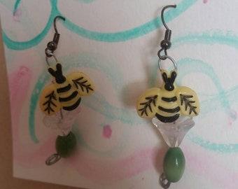 Bumblebee flower earrings
