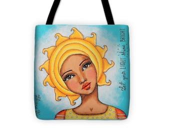 """Shine Bright Tote - Wearable Art (13""""x13"""")"""