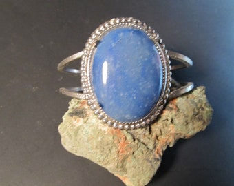 Blue Adventurine, 30 x 40 mm set in silver tone bracelet