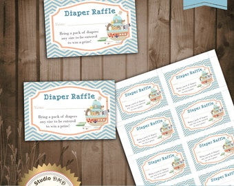 Printable Diaper Raffle Card, Noah's Ark, Baby Boy, Noah's Ark Baby Shower Game - Instant Download