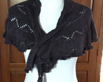 Hand-knit silk shawlette