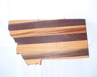 Montana state cutting board - made from  walnut and oak
